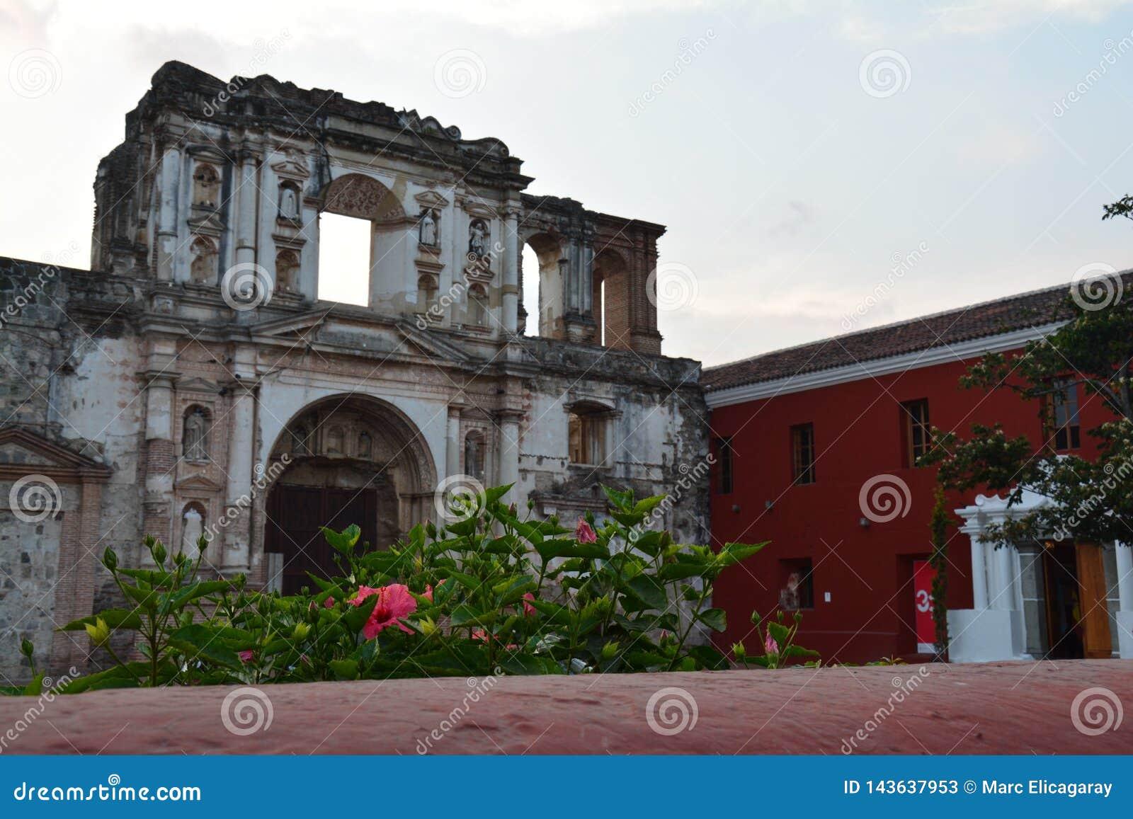 Antigua Kolorowy Stary miasteczko W Gwatemala