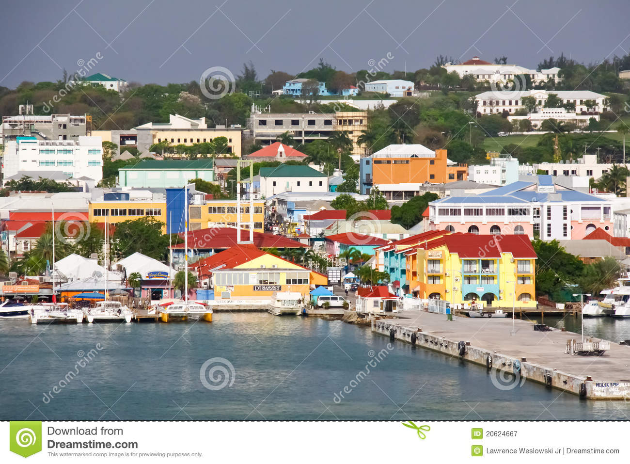 Colorful St. John's waterfront and cruise ship pier on the Caribbean ...