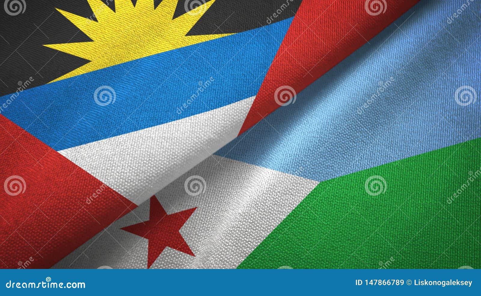 Antigua und Barbuda- und Dschibuti-zwei Flaggentextilstoff, Gewebebeschaffenheit