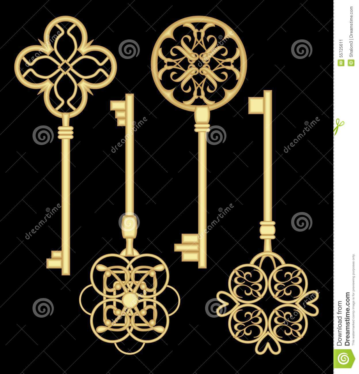 Antigue door key set in golden metallic design with for Door key design