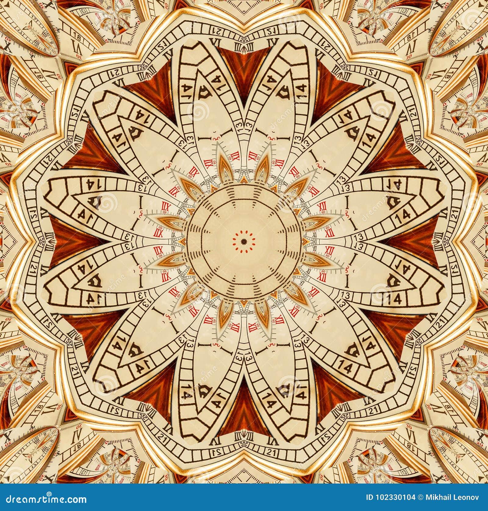 Antik gammal guld- bakgrund för abstrakt begrepp för klockakalejdoskopmodell Smattrande för klocka för abstrakt overklig klockamo