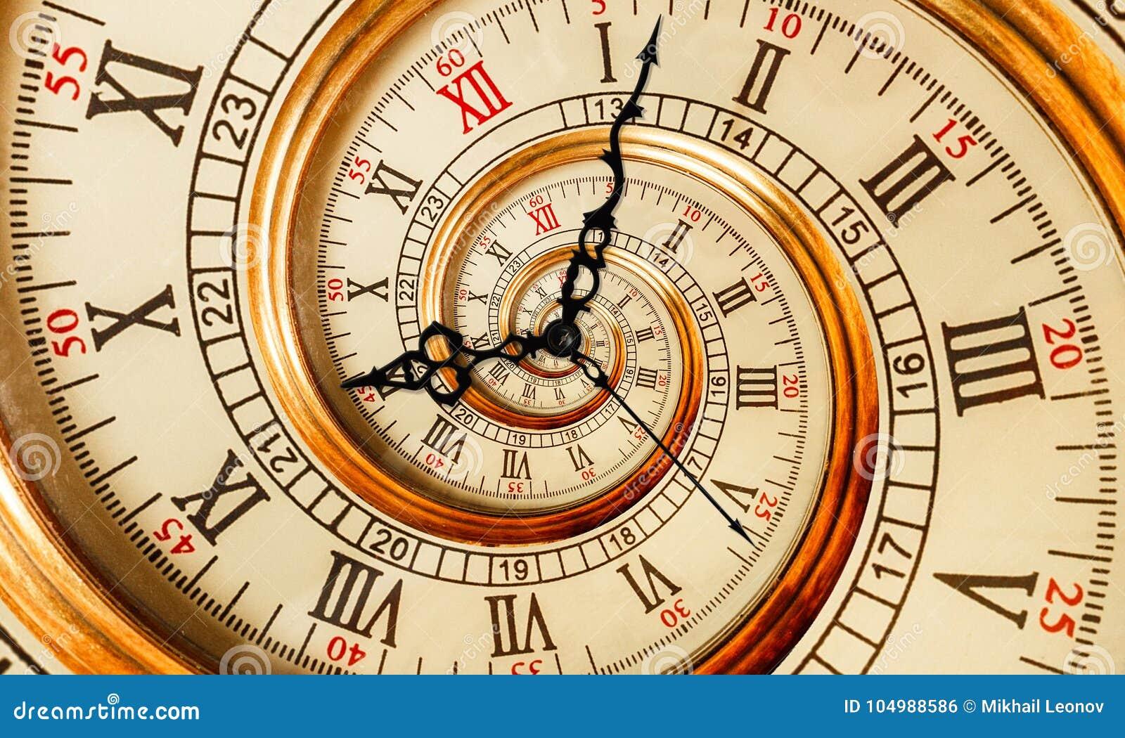 Antik gammal spiral för klockaabstrakt begreppfractal Bakgrund för modell för fractal för textur för klockaklockamekanism ovanlig