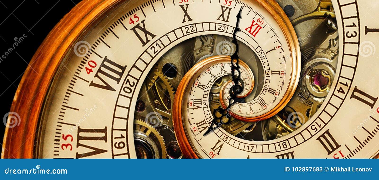 Antik gammal spiral för klockaabstrakt begreppfractal För klassisk bakgrund för modell för fractal för textur klockamekanism för