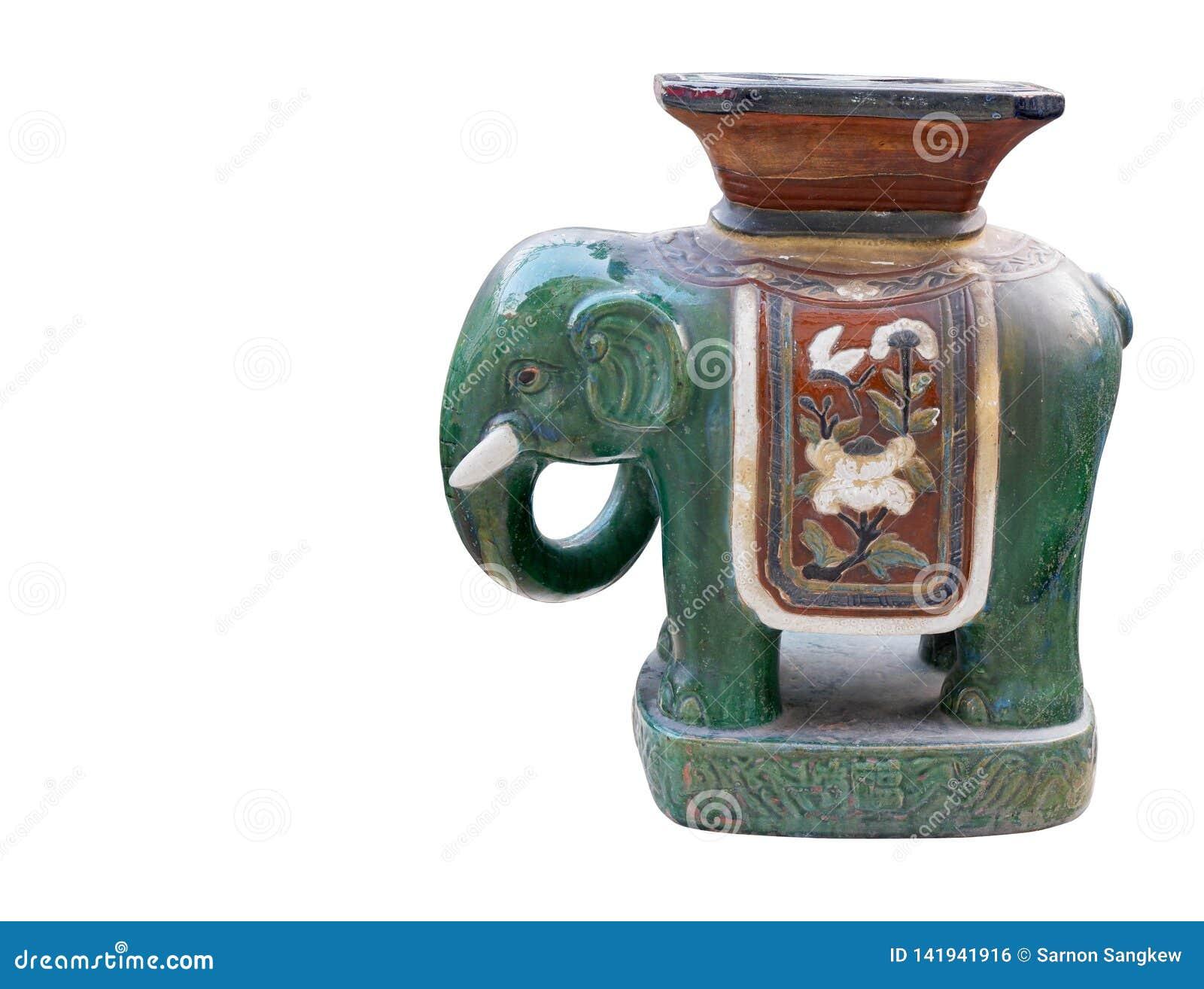 Antik grön elefant för sidosikt som är keramisk på vit bakgrund, tappning, objekt, kopieringsutrymme
