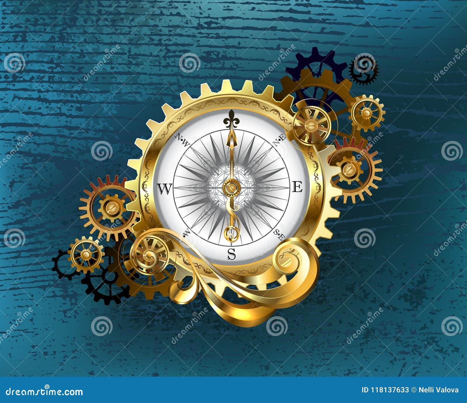 Antik kompass med kugghjul Steampunk