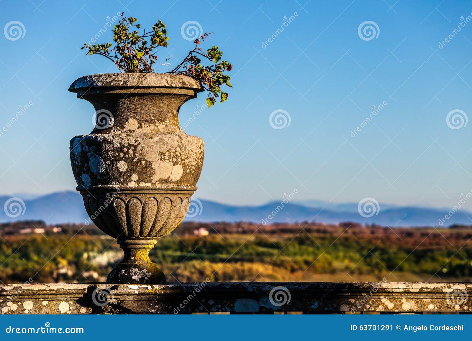 Antik tappningvas, utomhus- naturligt landskap och himmel