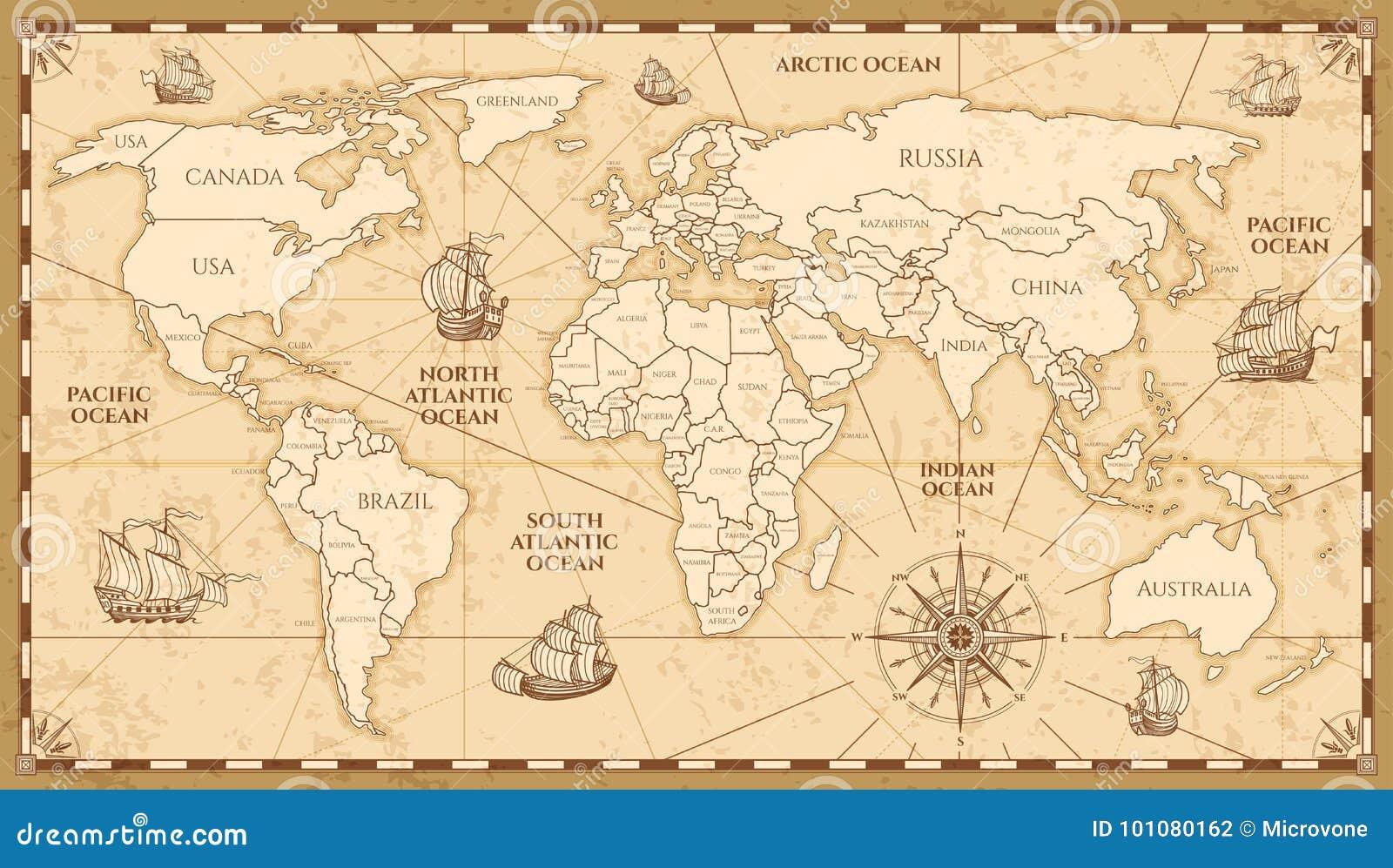 Antik världskarta för vektor med landsgränser