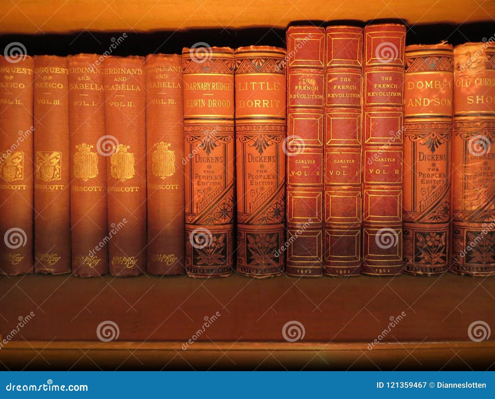 Antike Bücher auf einem Regal