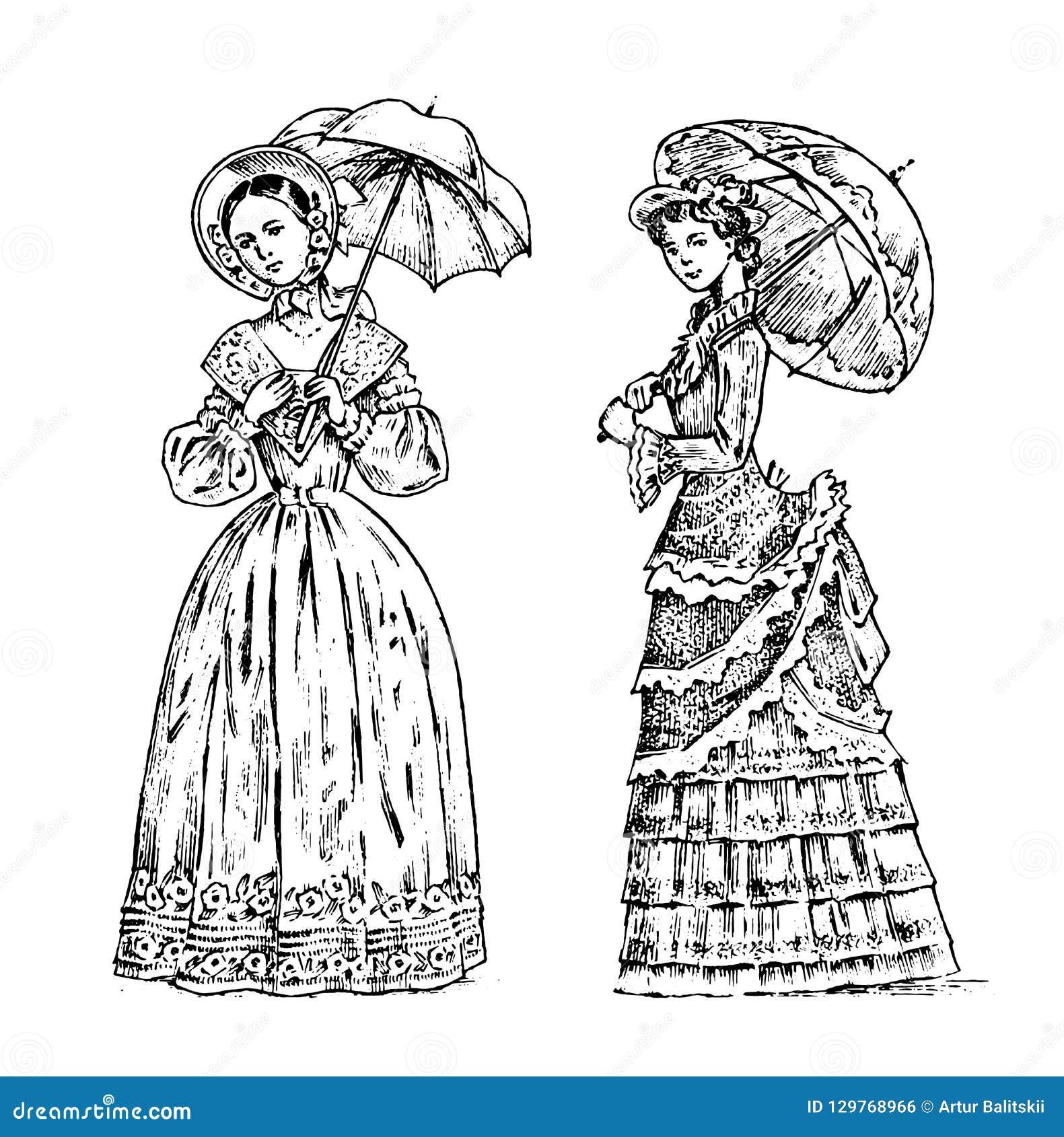 Antike Damen Freifrau mit Regenschirm Viktorianische Epoche Alte Retro- Kleidung Frauen im Ballspitzekleid Weinlesestich