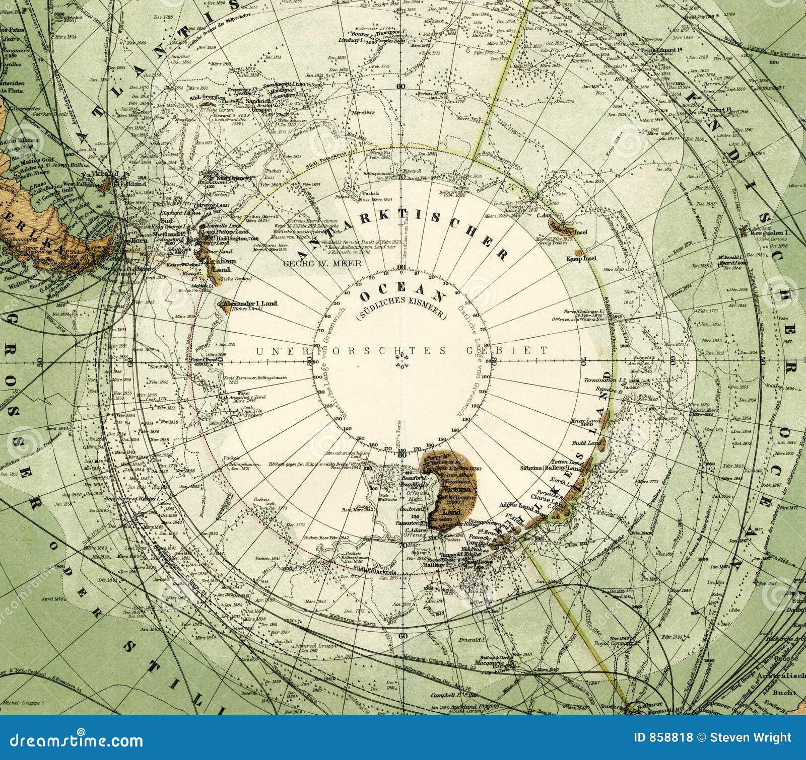 Antike Karte 1875 von Antarktik