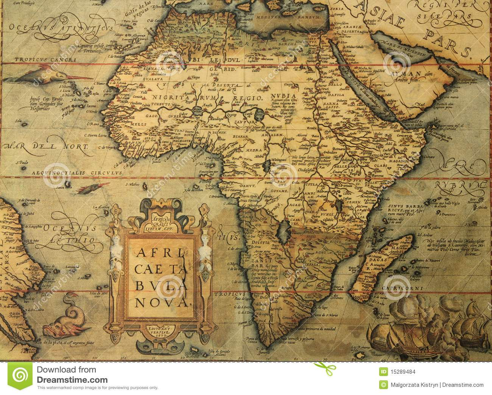 Antike Karte Von Afrika Stockfoto Bild Von Geographie