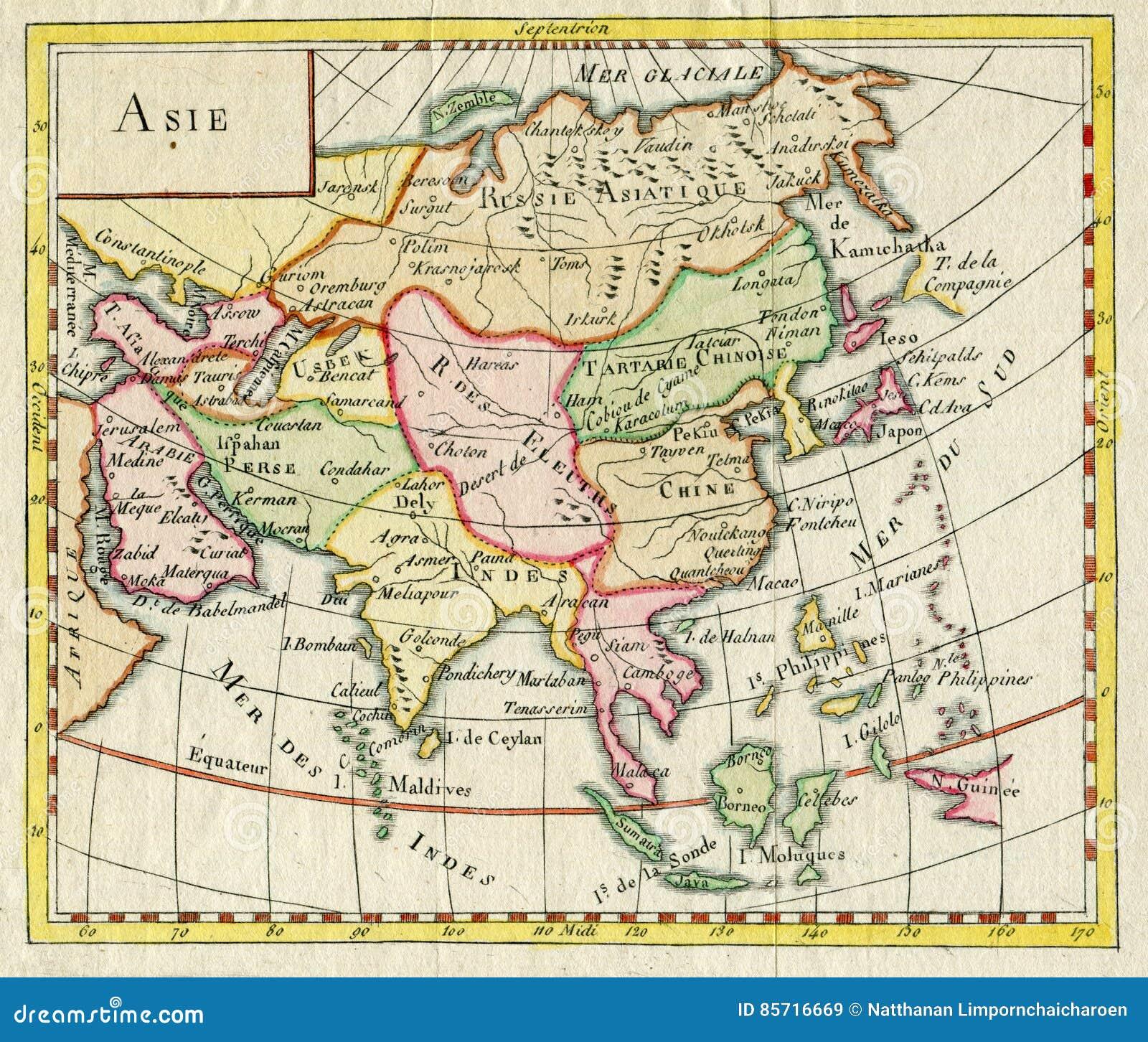 Karte Russland Asien.Antike Karte Von Asien Zeigt Indien China Russland Japan