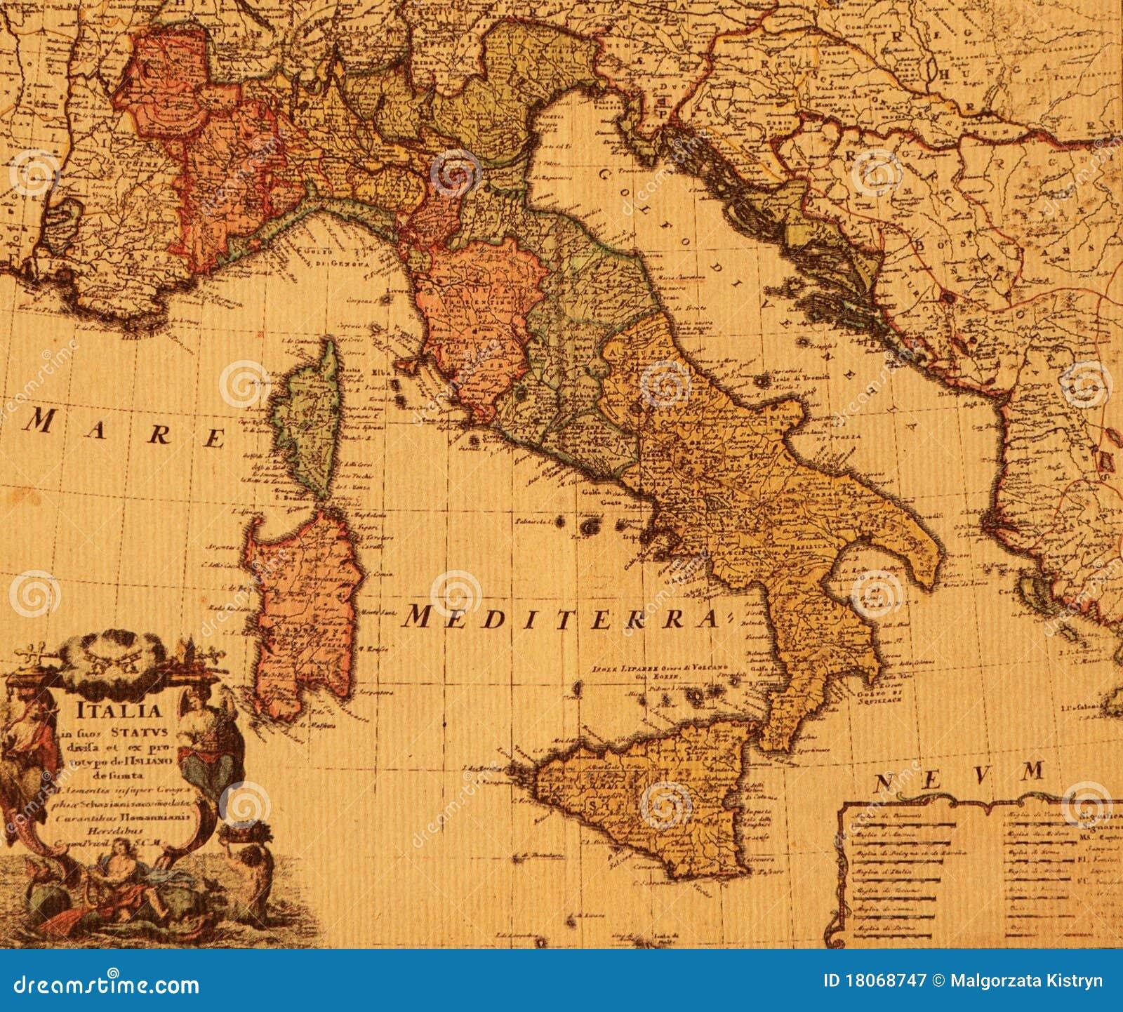 Norditalien Karte.Antike Karte Von Italien Stockbild Bild Von Kunst