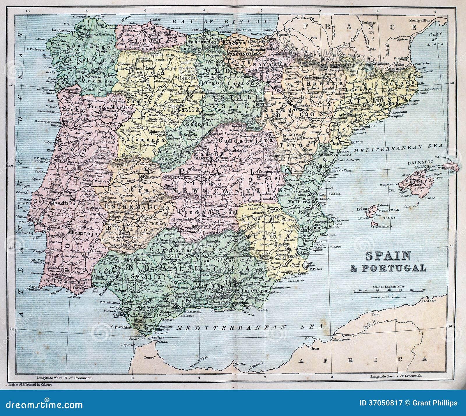 Antike Karte Von Spanien Und Von Portugal Stockbild Bild Von