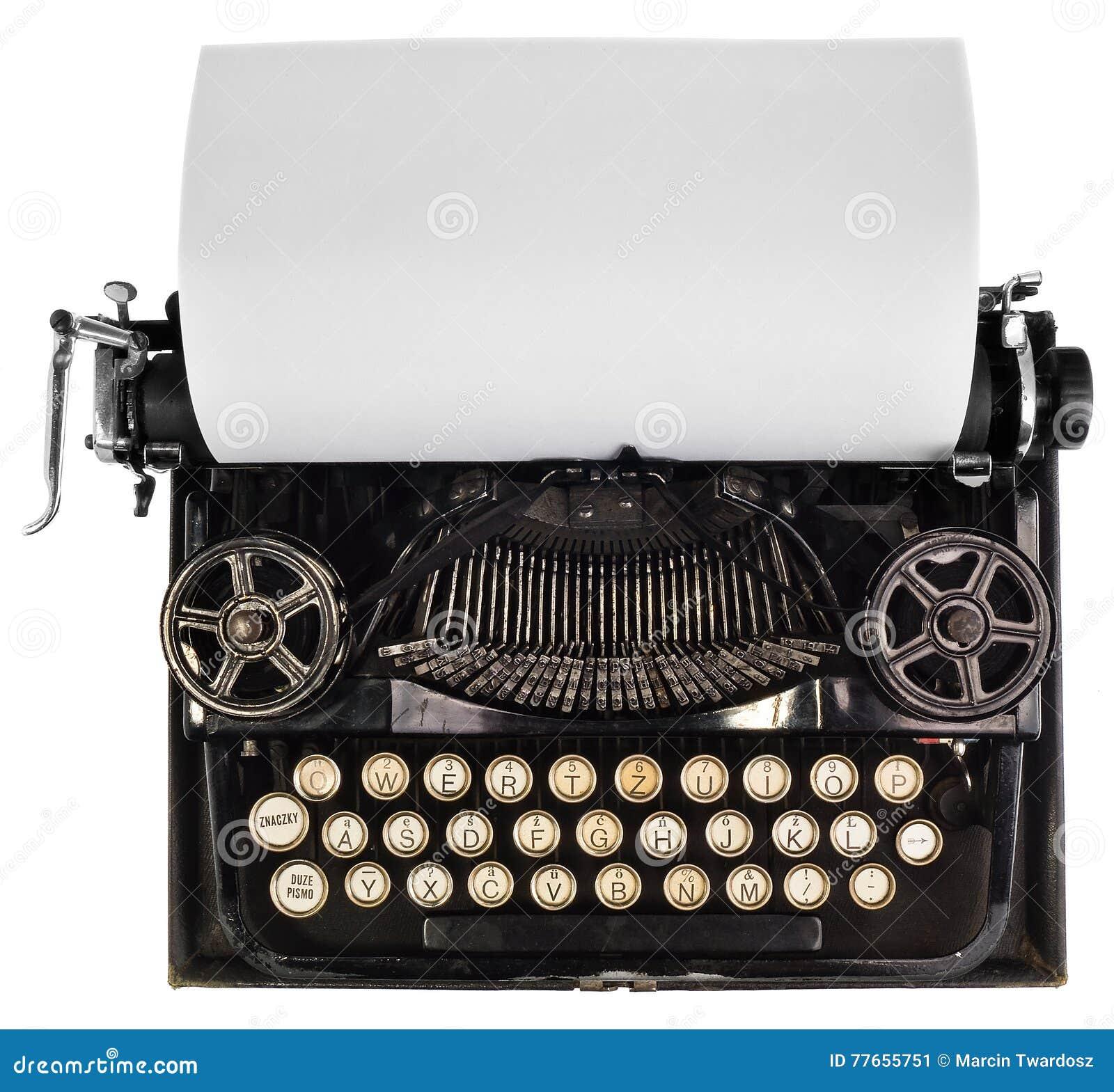 Antike Schreibmaschine Mit Weißem Leerem Blatt Papier Stockbild ...