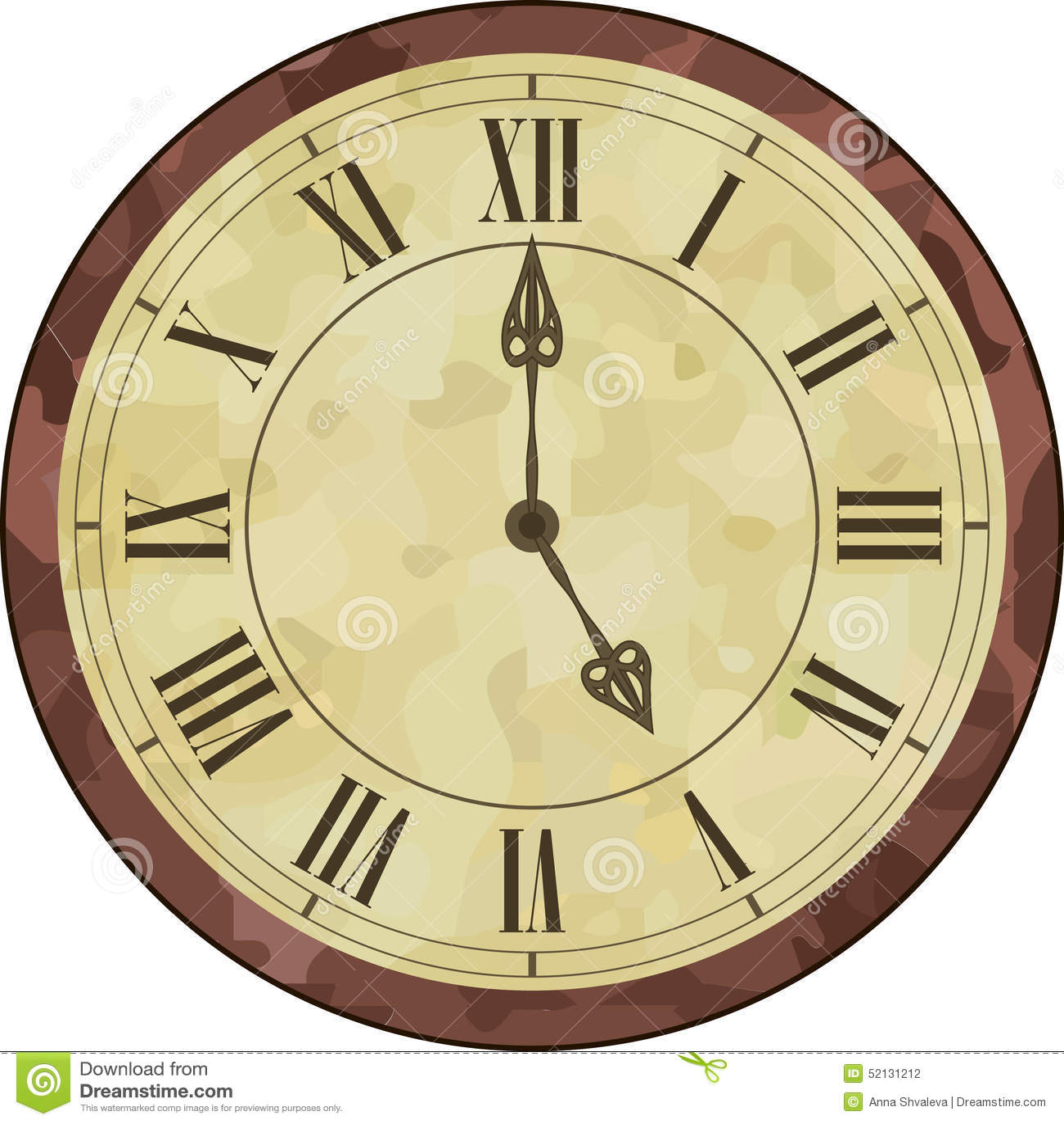 Uhr römische zahlen  Antike Uhr Der Römischen Ziffer Vektor Abbildung - Bild: 52131212