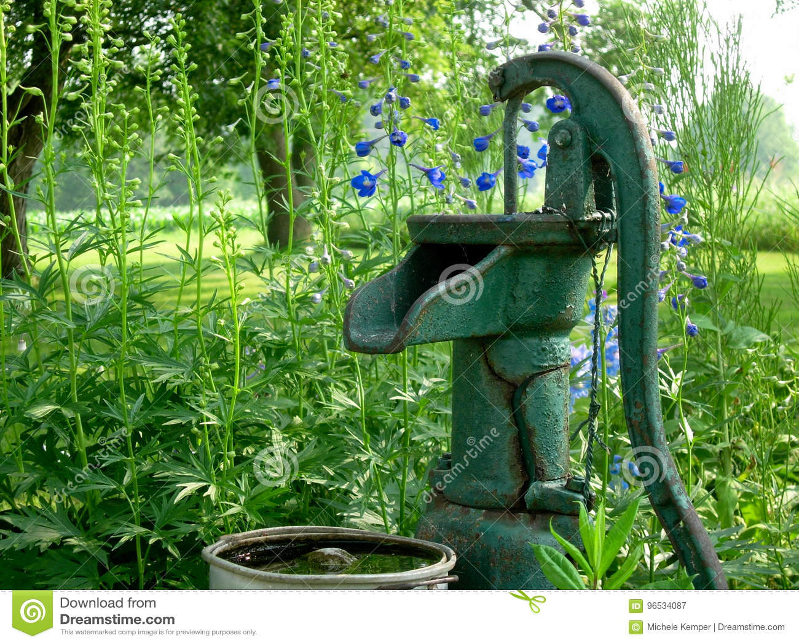 antike wasser-pumpe im garten stockbild - bild von metall