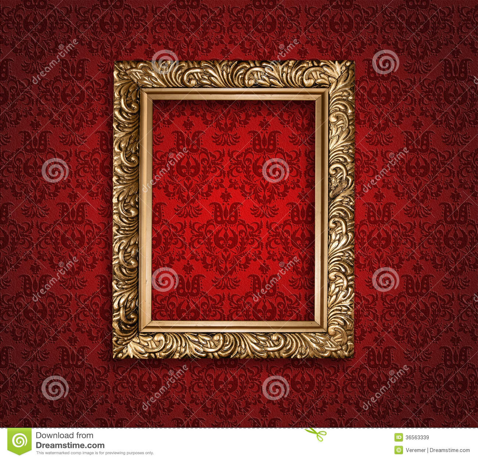 Antiker Goldener Rahmen Auf Roter Tapete. Stockbild - Bild von ...