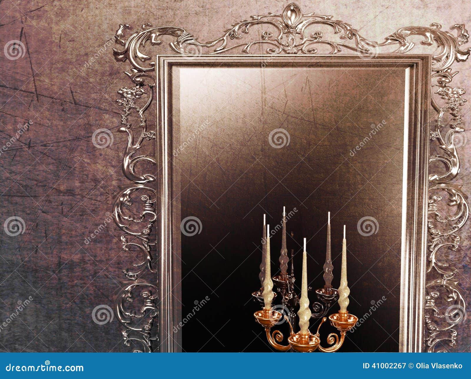 antiker spiegel und kerzenhalter stock abbildung bild. Black Bedroom Furniture Sets. Home Design Ideas
