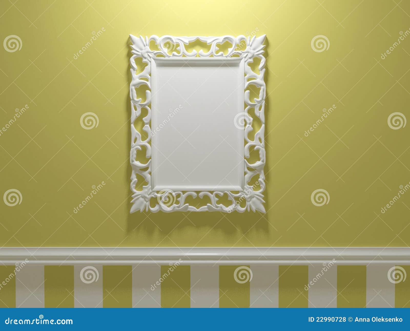 Antiker Weißer Verzierter Bilderrahmen Stock Abbildung ...