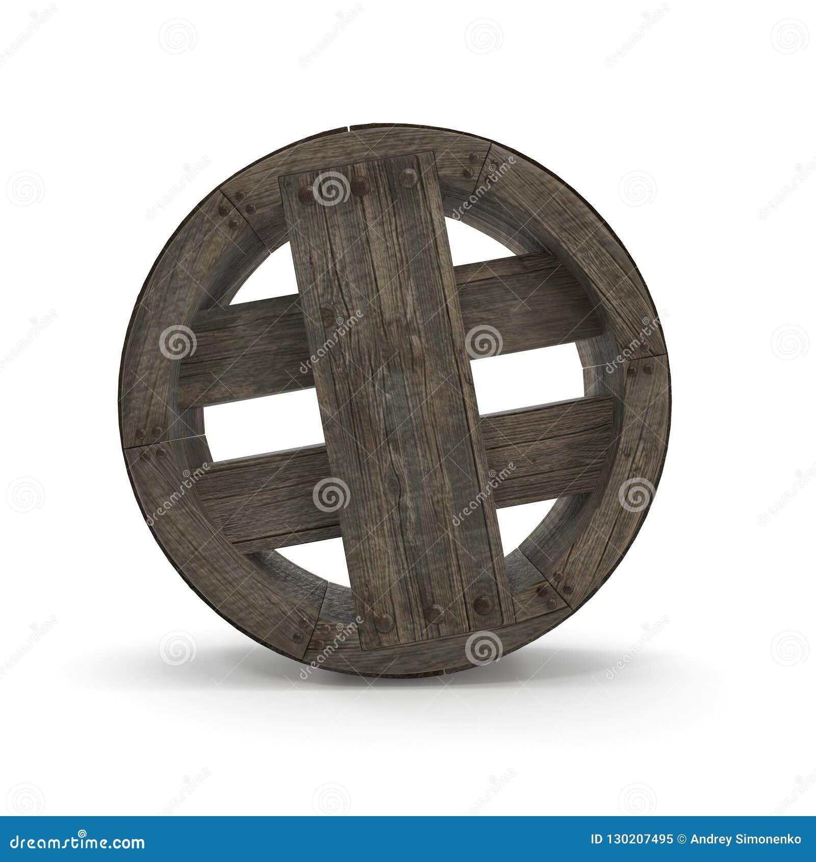 Antikes hölzernes Rad auf weißem Hintergrund Illustration 3d, lokalisiert