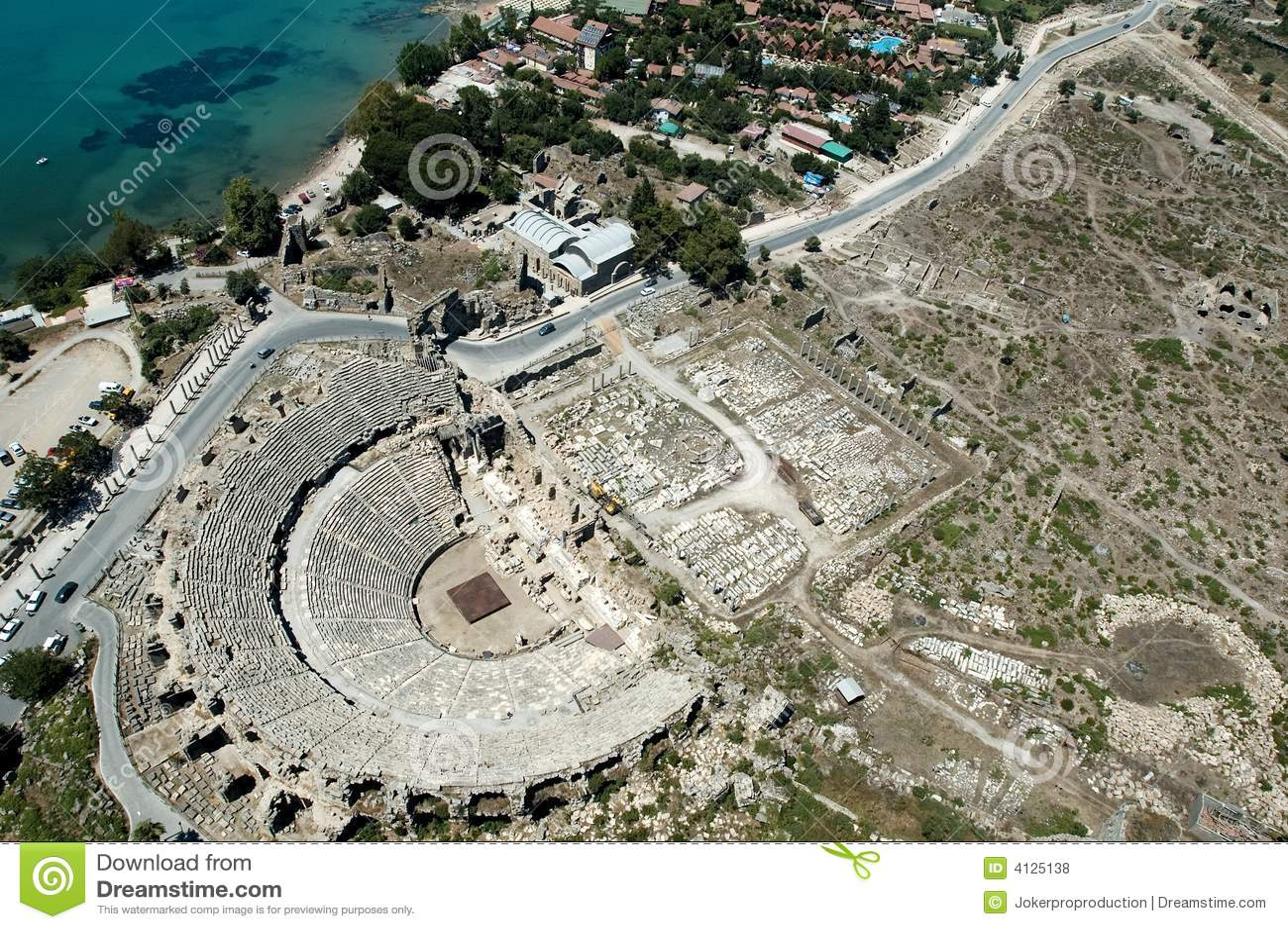 antikes theater antalya die t rkei stockfoto bild von altertum ozean 4125138. Black Bedroom Furniture Sets. Home Design Ideas