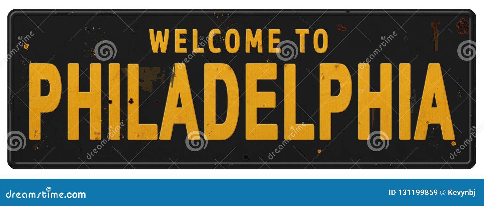 Antikvitet för Grunge för välkomnande för tecken för Philadelphia tappninggata