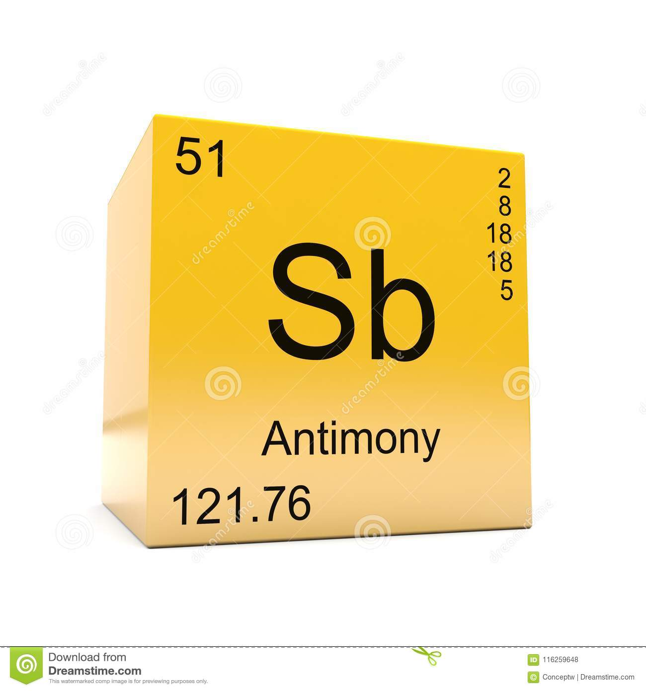 Antimony Chemical Element Symbol From Periodic Table Stock