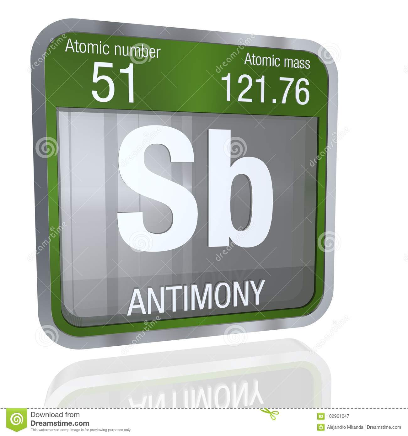 Antimony Symbol In Square Shape With Metallic Border And Transparent