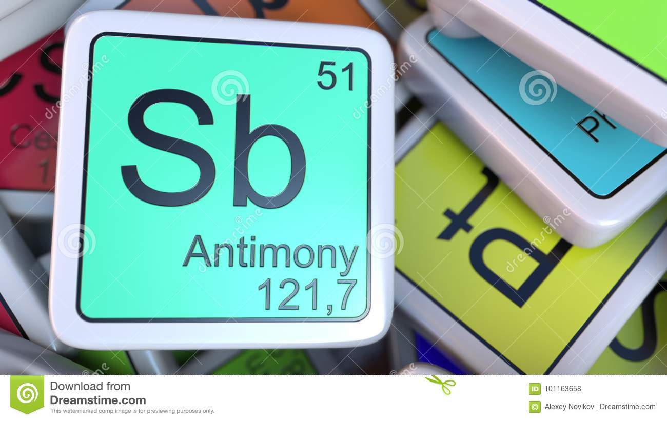 Antimony sb block on the pile of periodic table of the chemical antimony sb block on the pile of periodic table of the chemical elements blocks chemistry related 3d rendering urtaz Image collections
