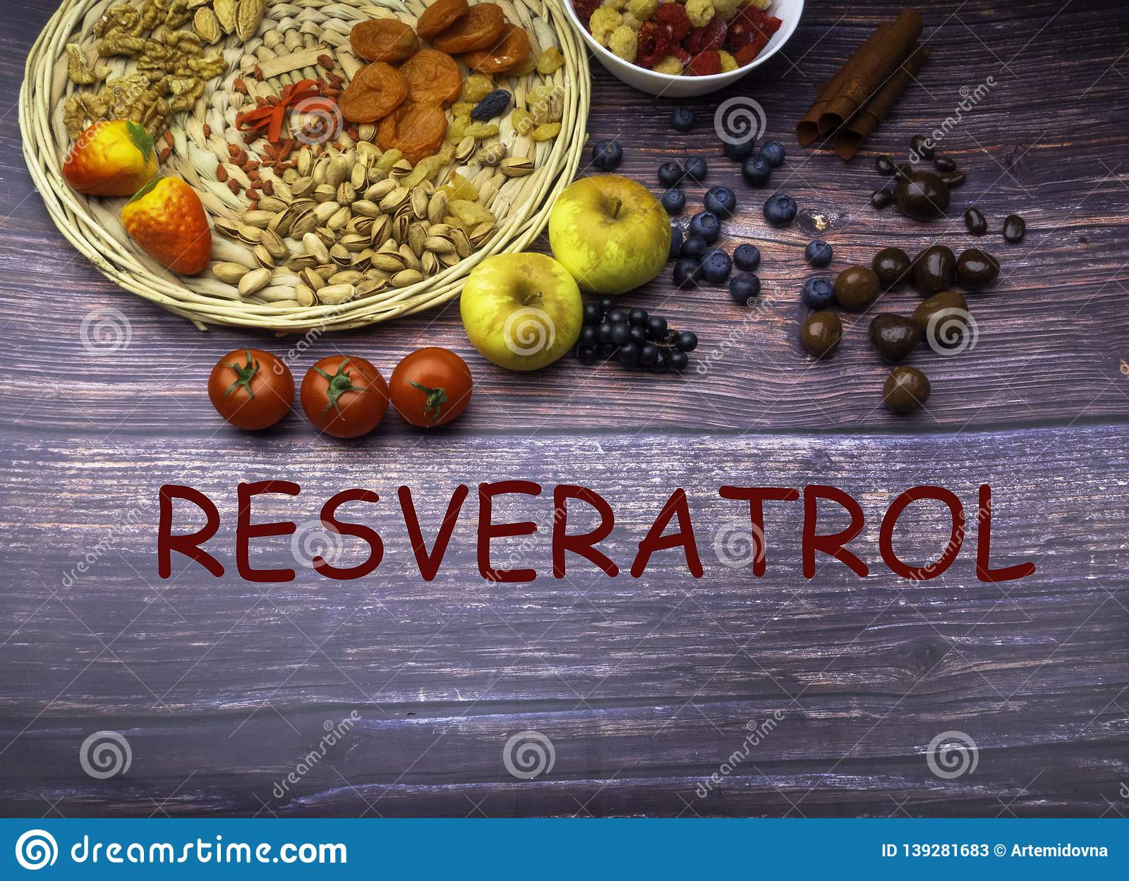 Resveratrol Rich Food On Wooden Surface With Text Antioxidants