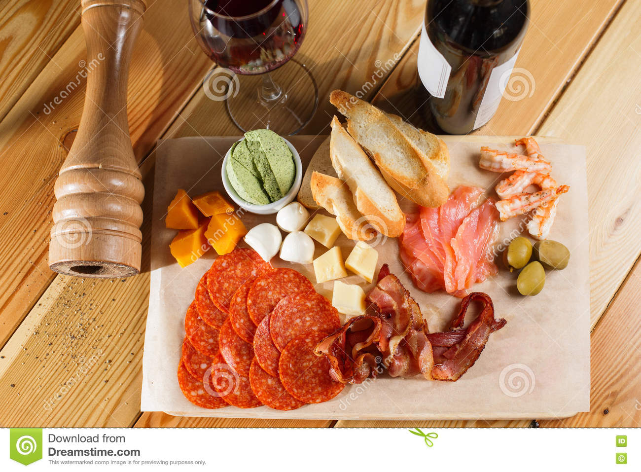 Antipasti Platter On Wooden Surface Bottle And Glass Of Wine Different Snacks Stock Photo Image Of Dish Parma 80905618