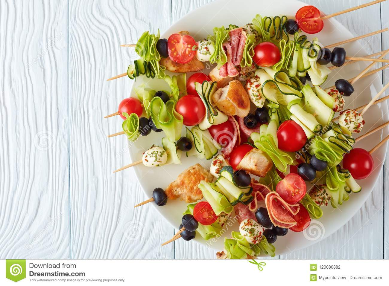 Antipasto skewers with meat and veggies