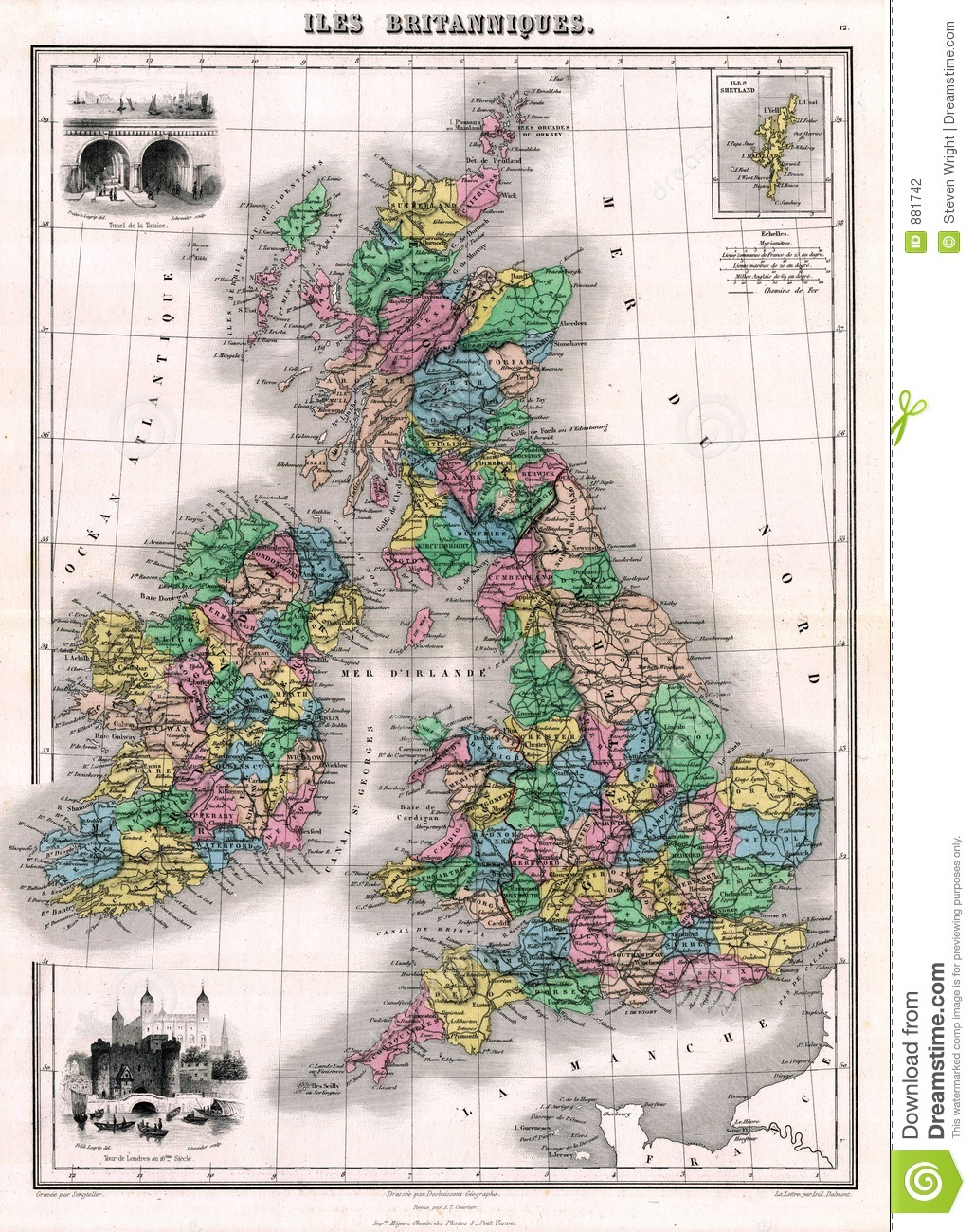 Antique 1870 Map Of Great Britain And Ireland Stock ...