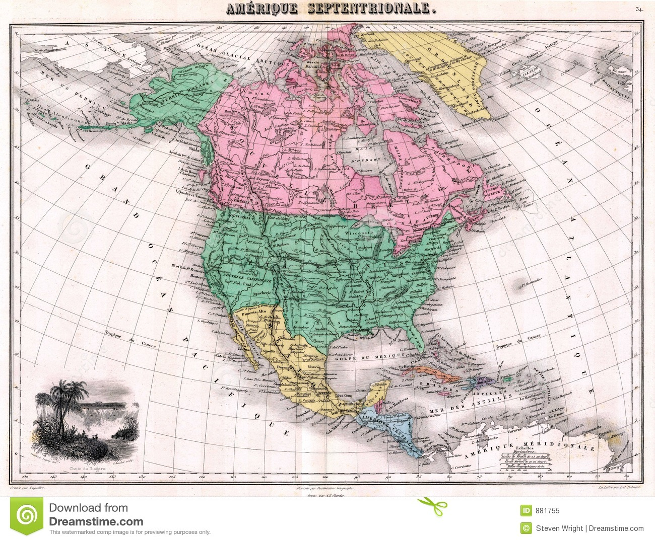 Antique 1870 Map Of North America Stock Illustration Illustration