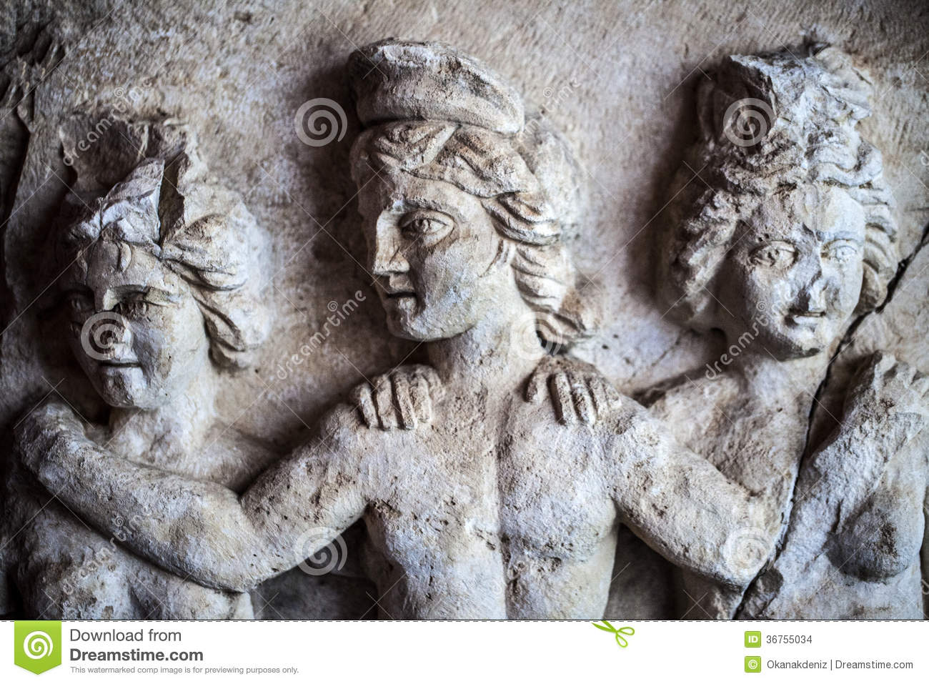 Antique Age Marble Faces Statue Stock Photo - Image of building ...