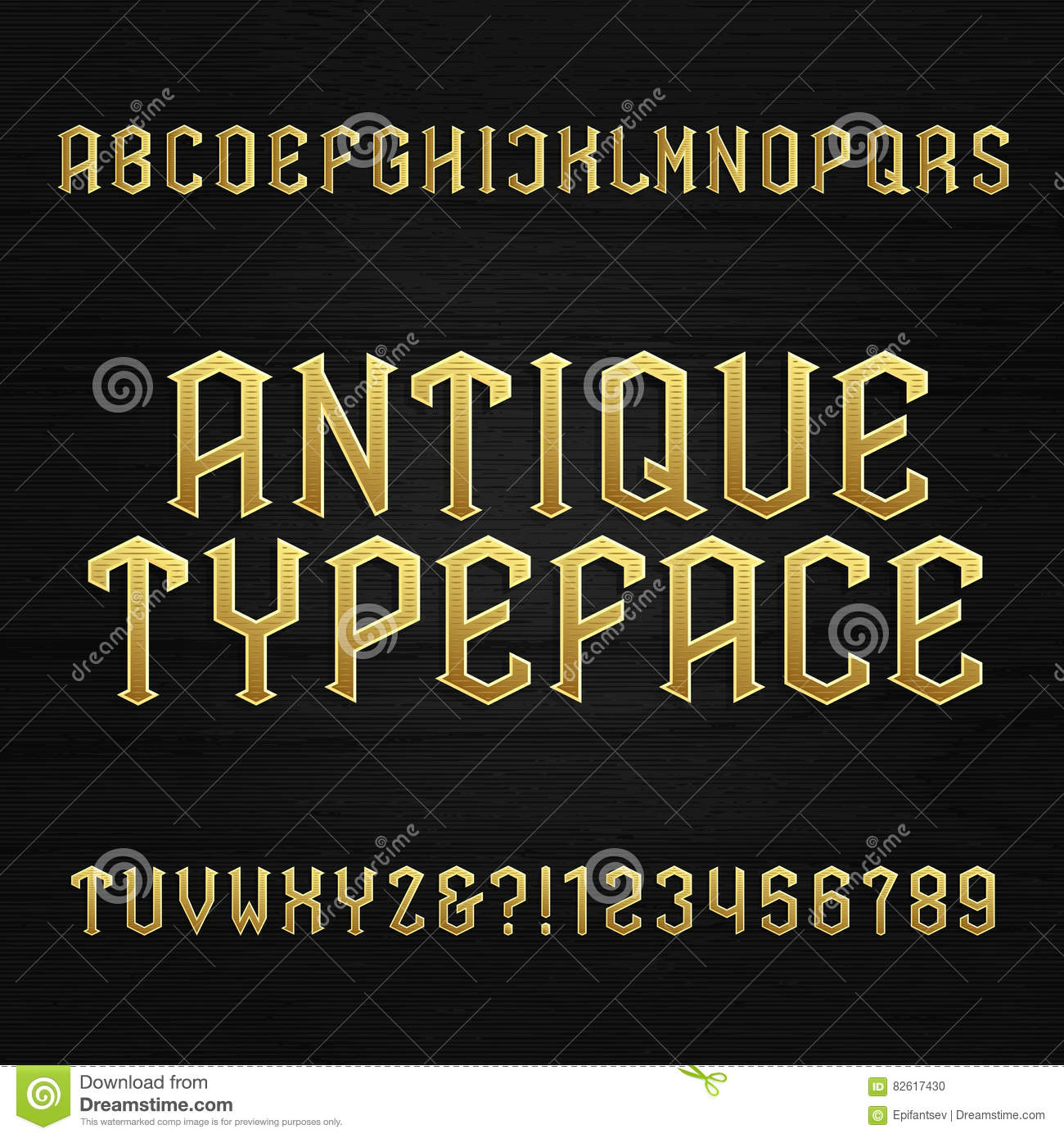 Download Antique Alphabet Vector Font. Type Letters Symbols And Numbers On A Wooden Background. Stock Vector - Illustration of distressed, retro: 82617430