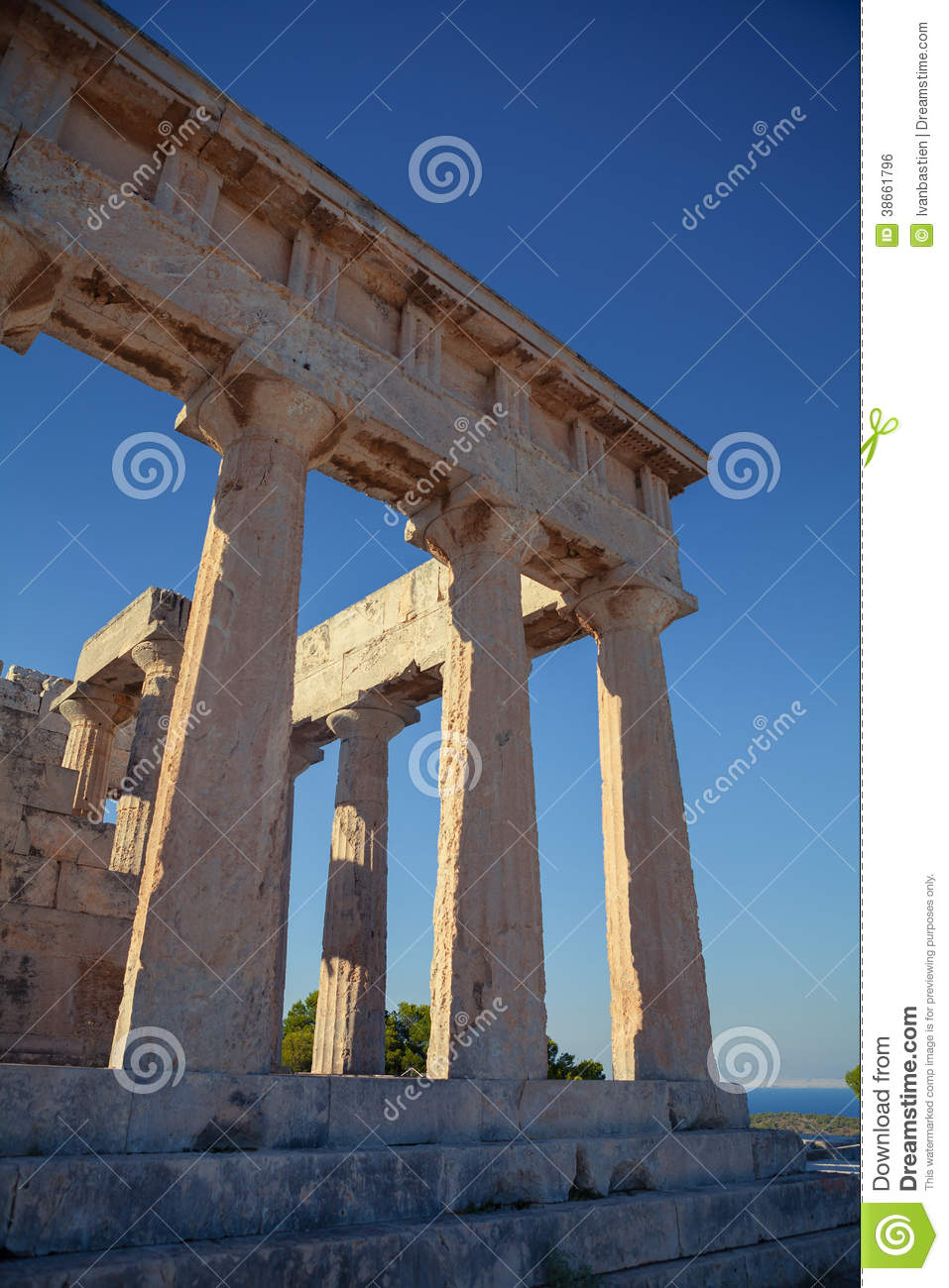 Antique Aphaia Temple In Aegina Island Greece Stock Photo Image