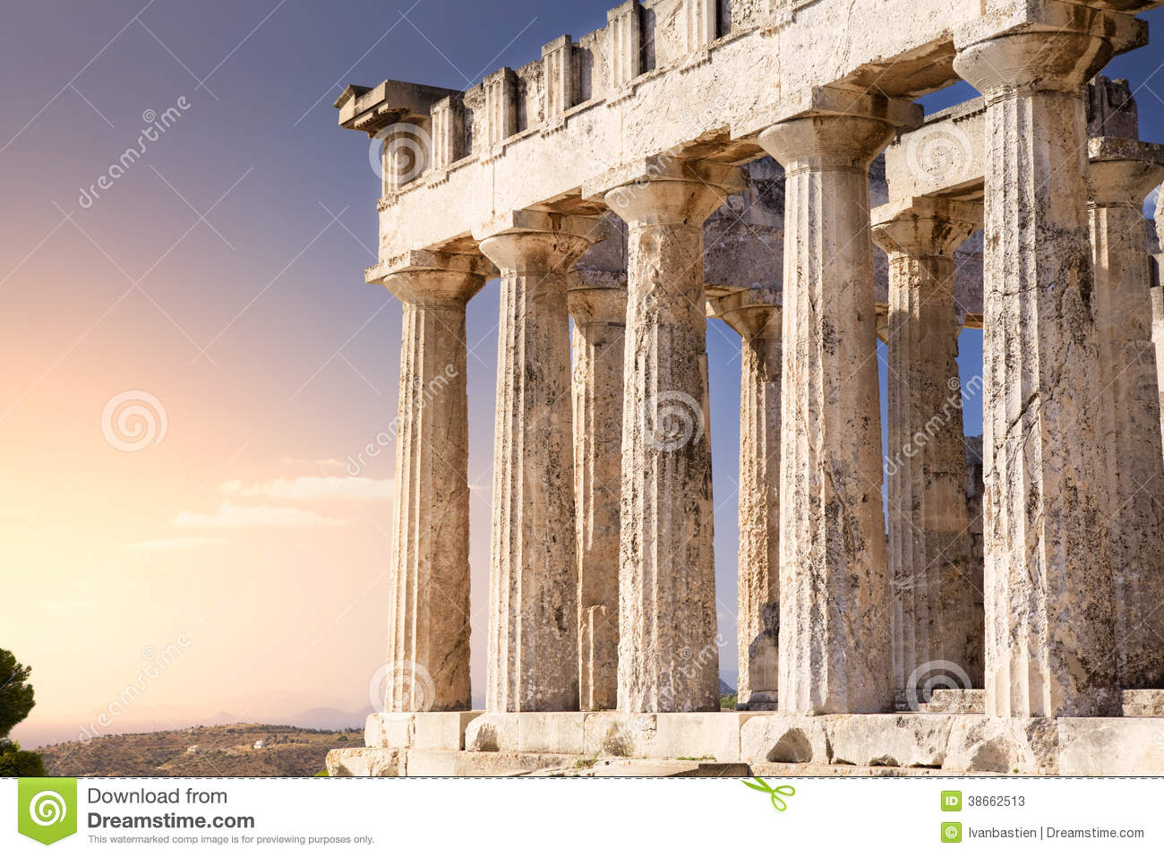 Antique Aphaia Temple On Aegina Island Greece Stock Image Image