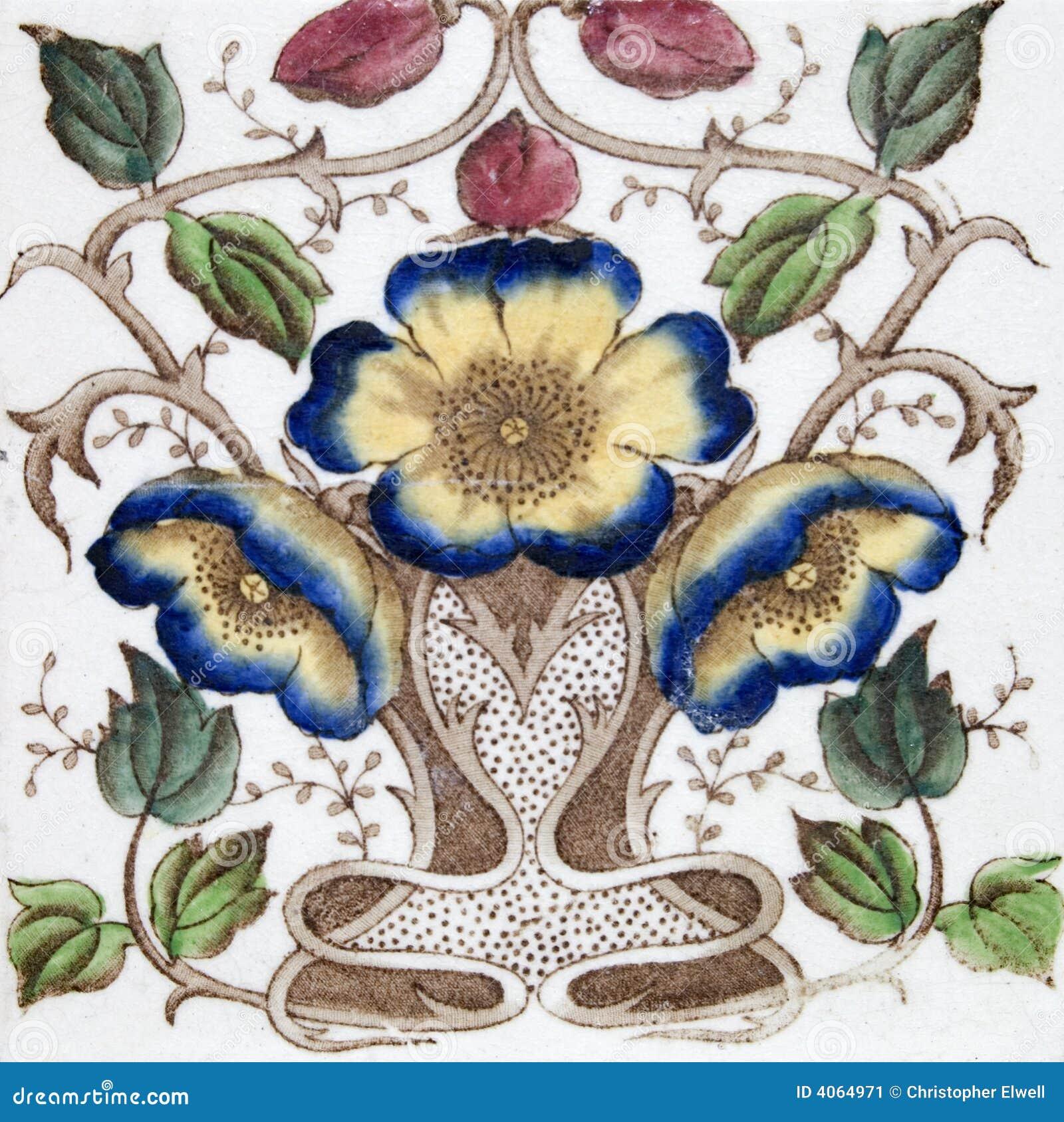 Antique Art Nouveau tile