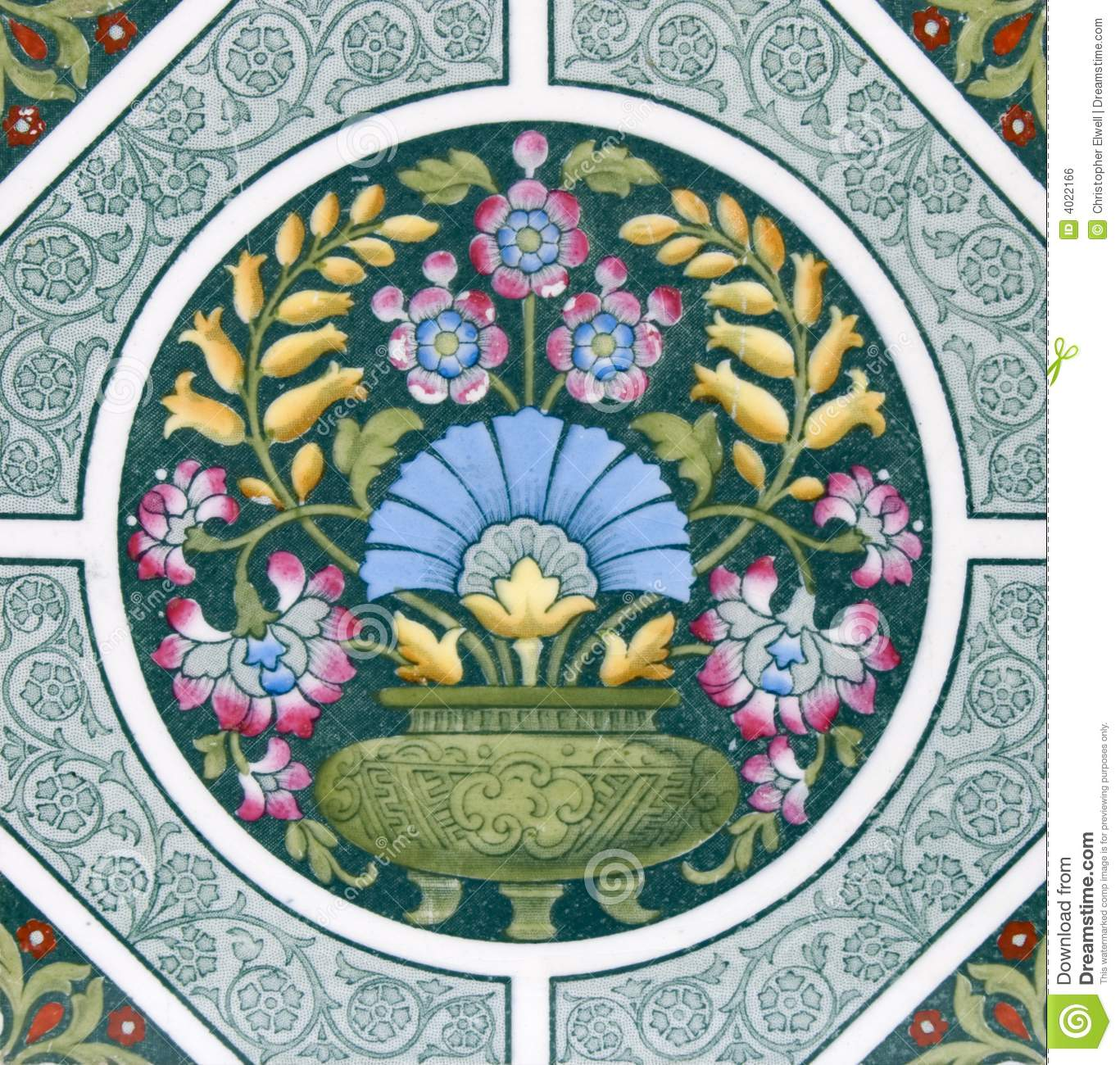 Arts and crafts tiles - Antique Arts Crafts Tile Royalty Free Stock Image