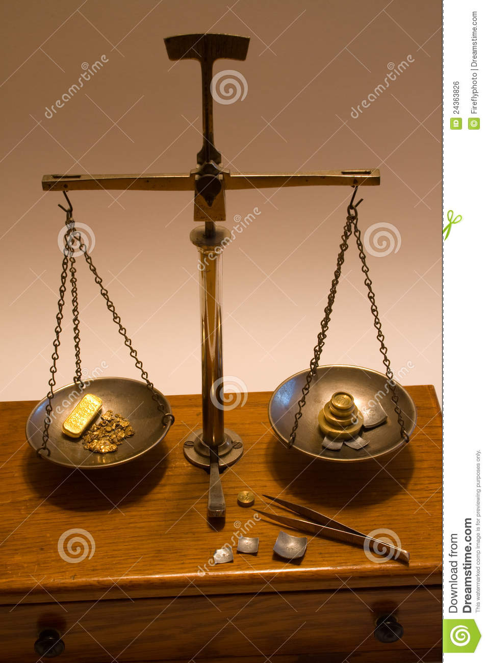 Antique Balance Scale Weighing Gold Stock Photo