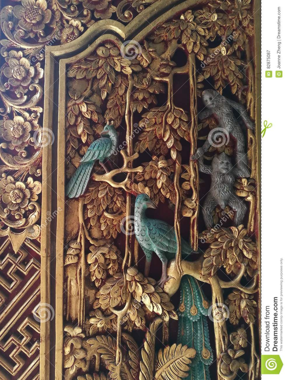 Antique balinese ornate carved wood door stock image