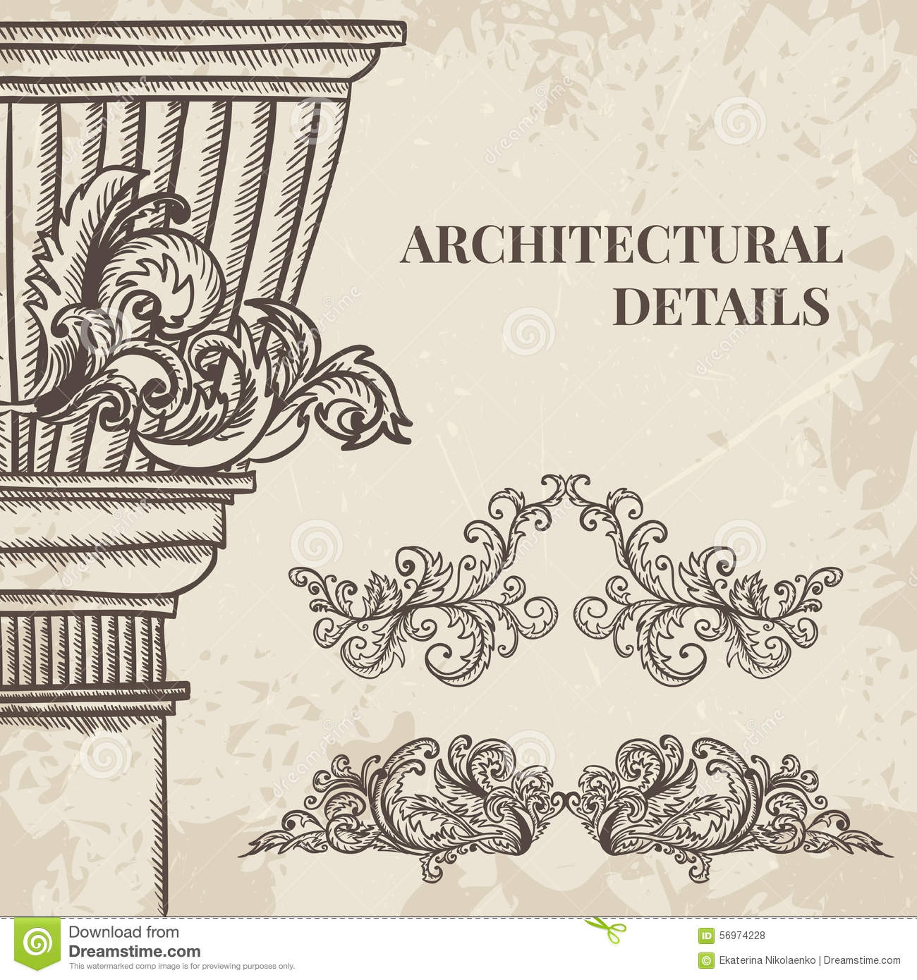 Antique and baroque cartouche ornaments and classic style for Baroque architecture elements