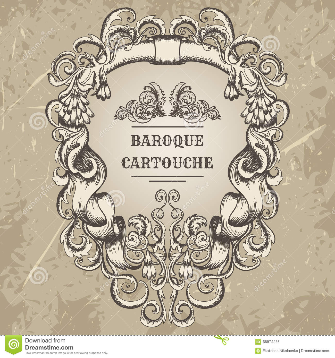 Antique and baroque cartouche ornaments frame vintage for Baroque architecture elements