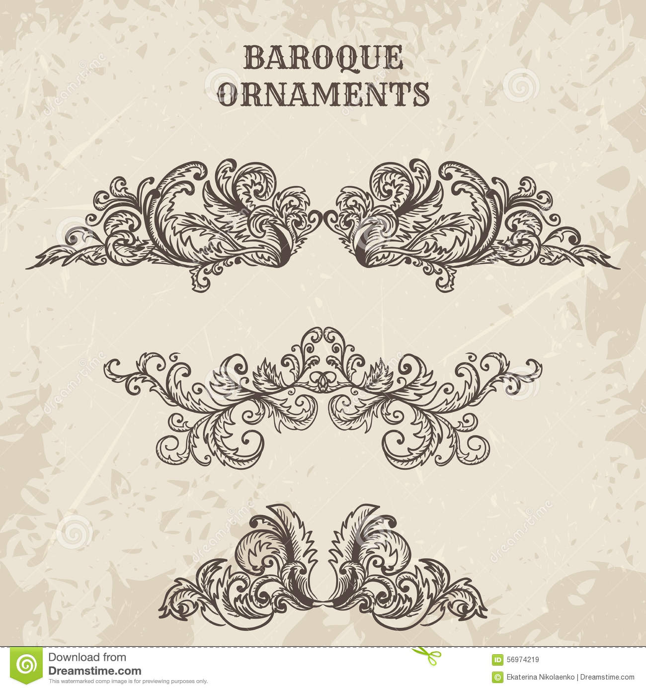 Frame design for wedding invitation vector border in victorian style - Antique And Baroque Cartouche Ornaments Vector Set