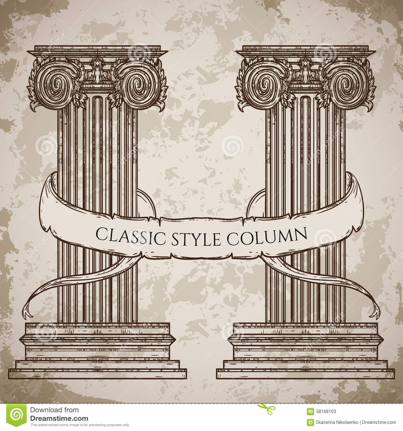 Antique and baroque classic style column and ribbon banner for Baroque architecture elements