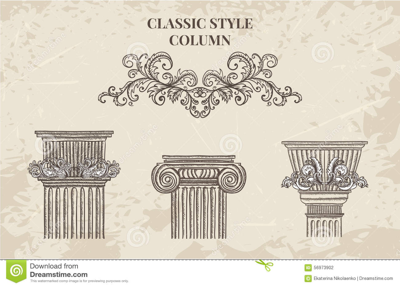 Antique and baroque classic style column vector set for Architecture antique