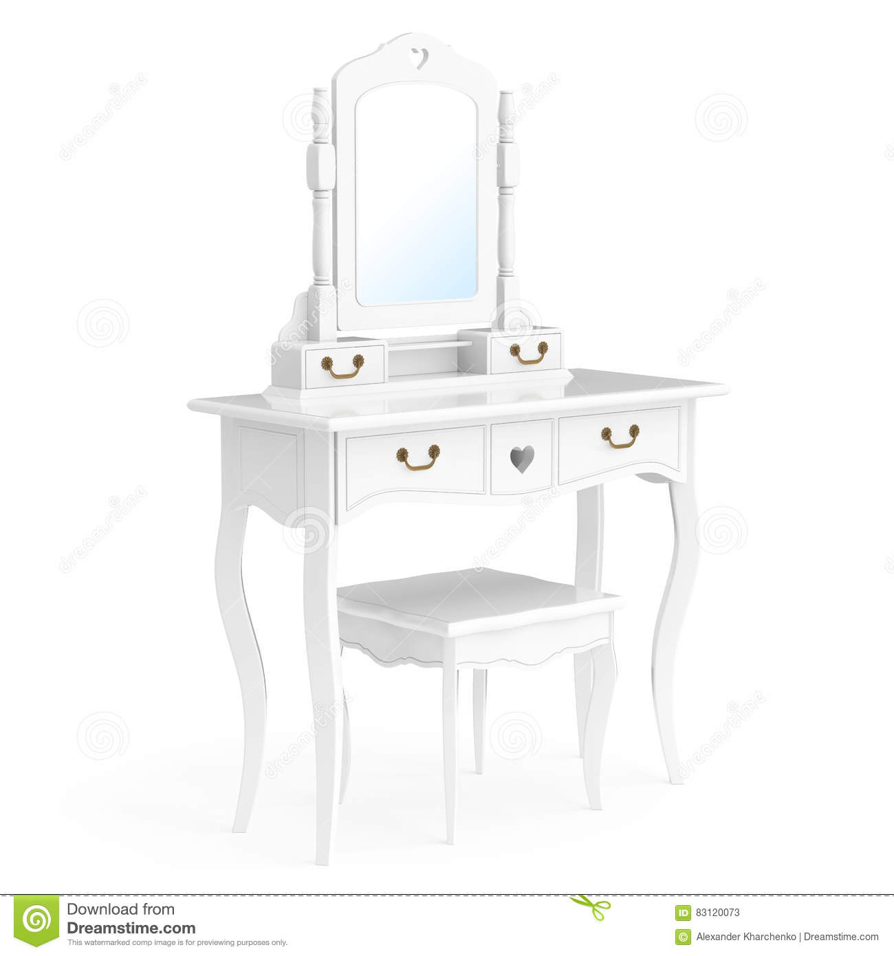 Antique Bedroom Vanity Table With Stool And Mirror On A White Background D Rendering