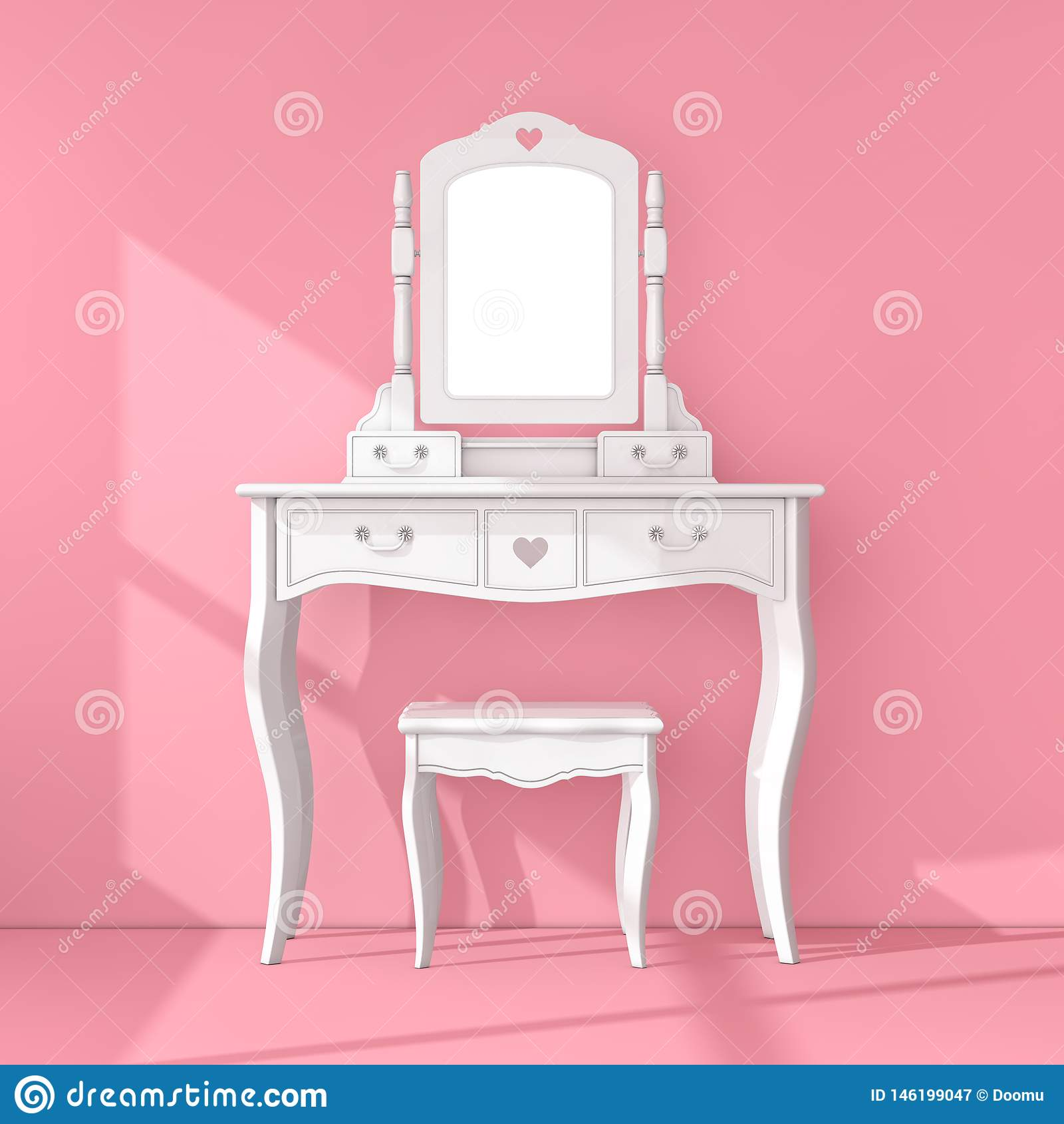 Antique Bedroom Vanity Table With Stool And Mirror In Pink Room 3d Rendering Stock Illustration Illustration Of Pink Hall 146199047